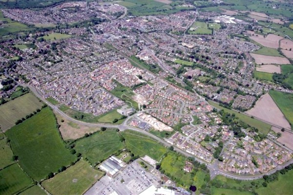 An aerial view of Nantwich