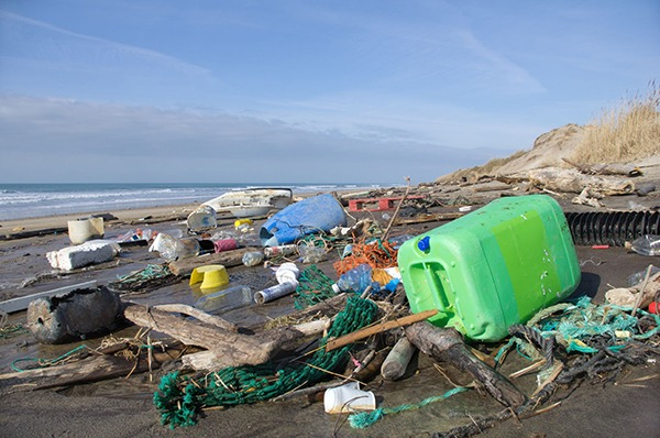 Plastic waste on the beach. Photograph: Fabien Monteil/123RF