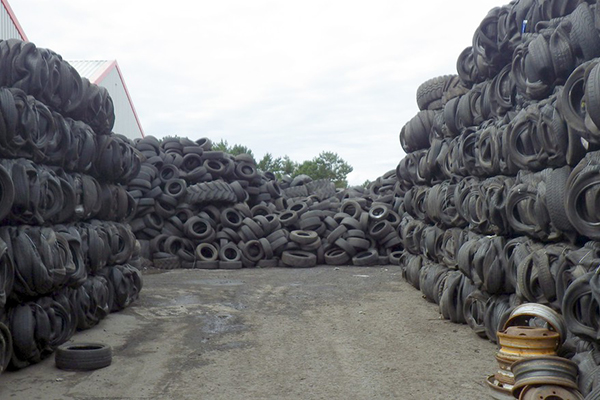 Piles of waste tyres