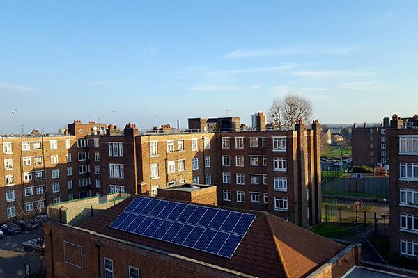 Solar panels on roof of Banister House estate