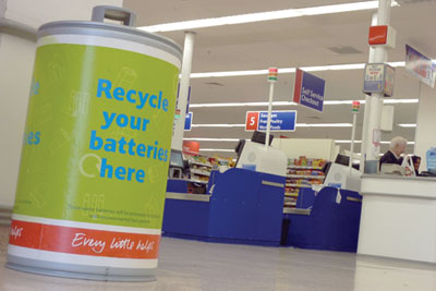 A Tesco in-store battery recycling bin (credit: Gareth Simkins)
