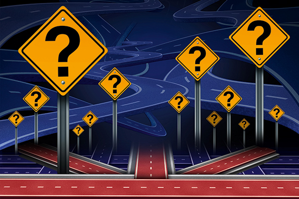 Brexit illustration: roads and question marks