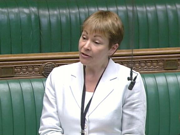 Caroline Lucas giving her maiden speech in Parliament