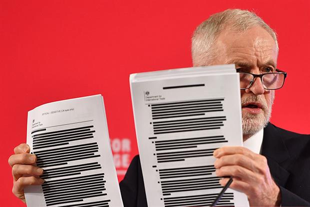 "Jeremy Corbyn said the leaked documents, which ENDS has obtained in full, demonstrate ""a plot against the whole country"". Photograph: Leon Neal/Getty Images"