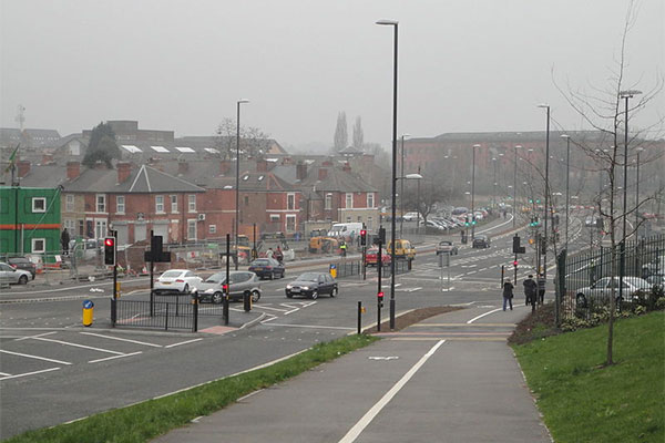 Road junction of Mercian Way with Abbey Street, Derby