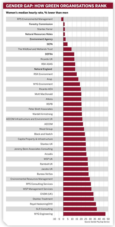 Graph: Gender gap rankings of environmental companies