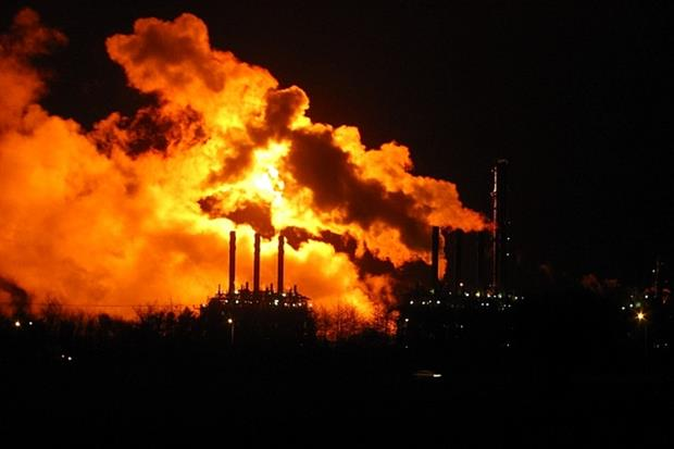 Flaring from ExxonMobil's Fife Ethylene Plant. Photograph: Richard Webb / Geograph