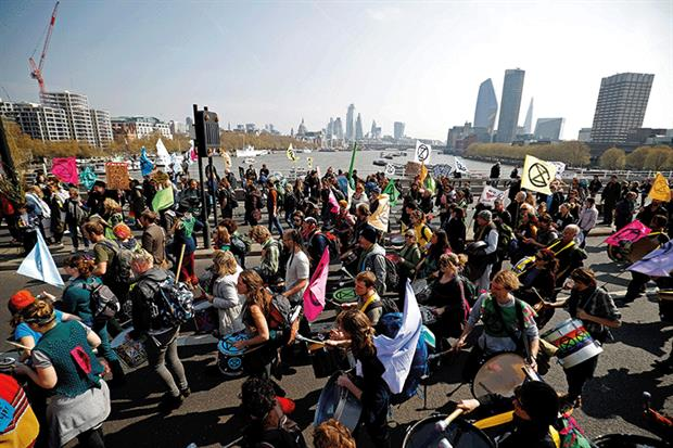 Extinction Rebellion activists blocked several roads in London, including Waterloo Bridge, for almost two weeks in April. Photograph: OLGA AKMEN/AFP via Getty Images
