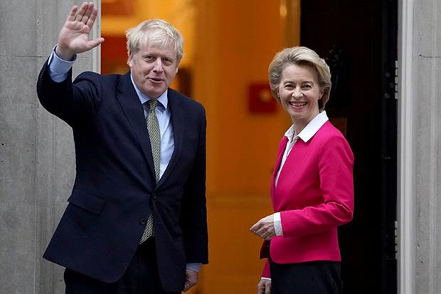 Boris Johnson meets European Commission president Ursula von der Leyen in January. Negotiators are set to clash in free trade talks over whether the UK will align with EU green rules after Brexit. Photograph: Peter Summers/Getty Images