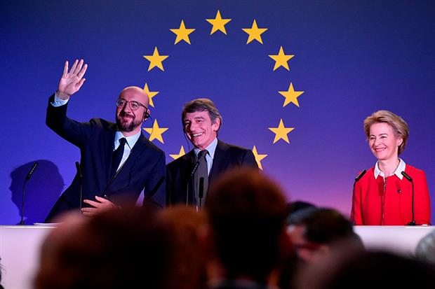 EU leaders bid farewell to the UK. Photograph: John Thys/Getty Images