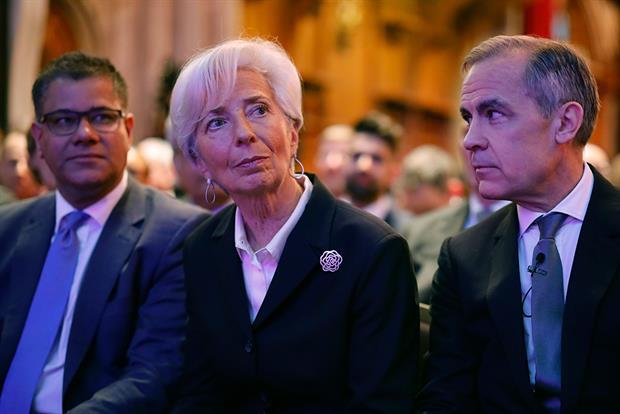 COP26 president Alok Sharma alongside ECB president Christine Lagarde and Bank of England governor Mark Carney. Photograph: WPA Pool/Getty Images
