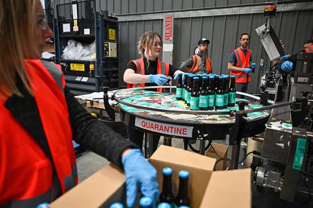 Emergency response: BrewDog brewery pack hand sanitiser being produced at the plant (Photograph: Jeff J Mitchell/Getty Images)