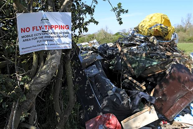 Rubbish dumped in Leicestershire in April after councils closed recycling centers across the nation due to the Coronavirus outbreak. Photograph: Ross Kinnaird/Getty Images