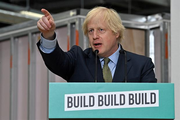 Boris Johnson spoke today at the Dudley College of Technology, stating the country needed the kind of massive investment delivered by US president Franklin D. Roosevelt in response to the Great Depression. Photograph: WPA Pool/Getty Images