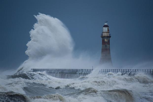 Rising sea levels will intensify storm damage along UK coastlines. Photograph: Roger Coulam/Getty Images