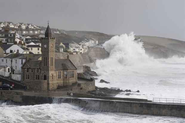 Storm Imogen batters Porthleven in Cornwall during winter 2015/16. Photograph: Moorefam / Getty Images