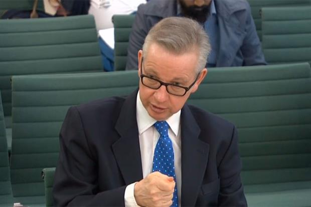 Michael Gove addresses the EFRA committee. Photograph: Parliament TV