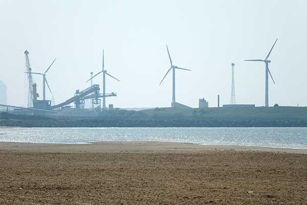 Wind turbines near Cosby beach near Liverpool