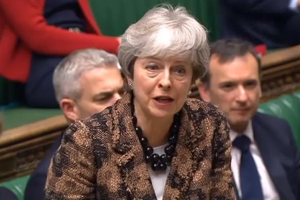 Prime minister Theresa May addressing parliament