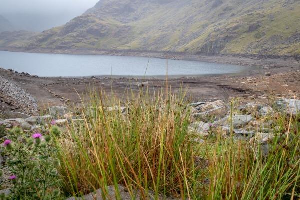 Seathwaite Tarn Reservoir in drought conditions, summer 2018