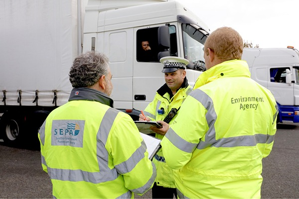 SEPA and Environment Agency officers carry out vehicle spot checks