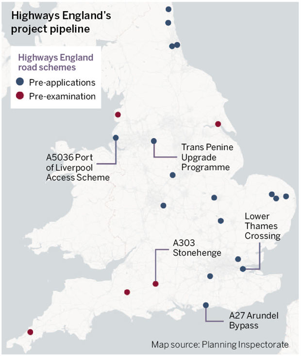 Map of road projects in the pipeline