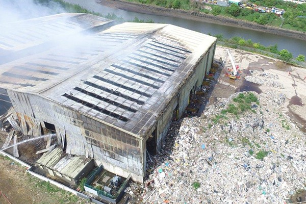 Waste recycling facility after fire