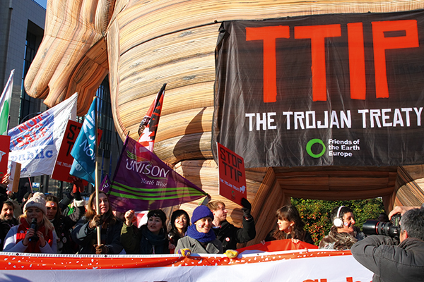 Protest against the EU-US TTIP trade deal