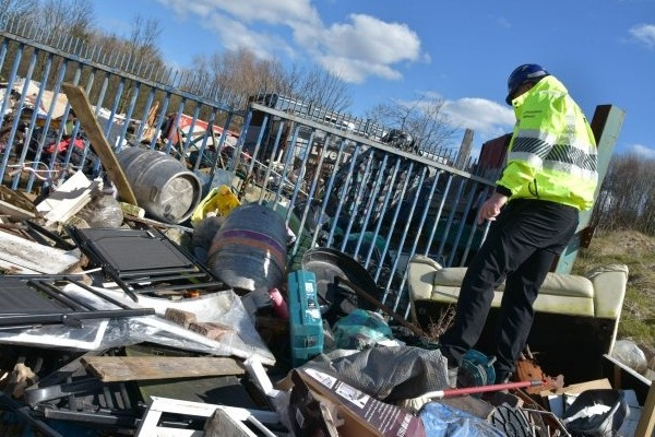 Environment Agency officer at a waste crime site
