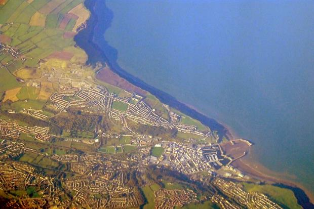 Whitehaven from the air. The Woodhouse Colliery will be built between Whitehaven and the St Bees Coast in Cumbria after it was granted planning permission yesterday. Thomas Nugent/Geograph