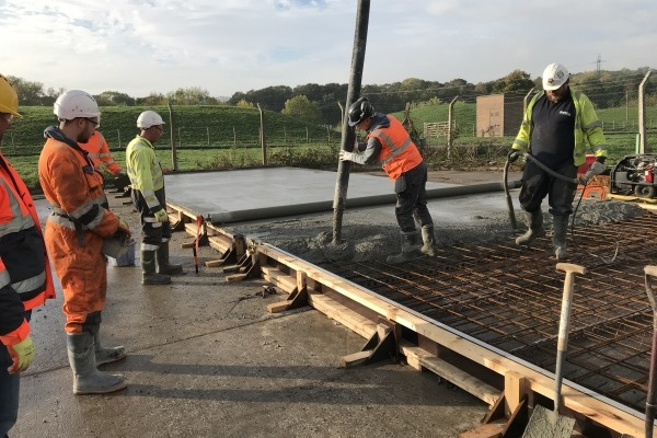 Concrete made from wastewater being poured
