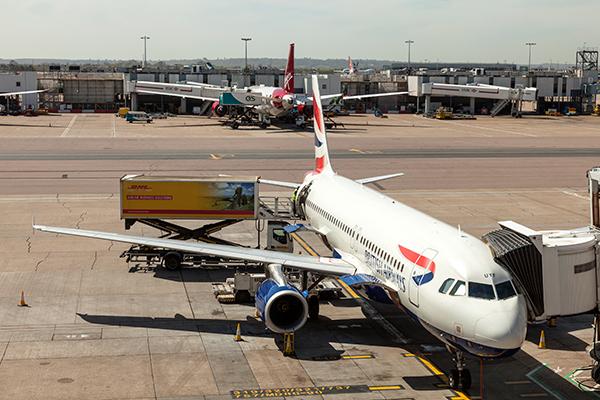 British Airways plane at Heathrow Airport