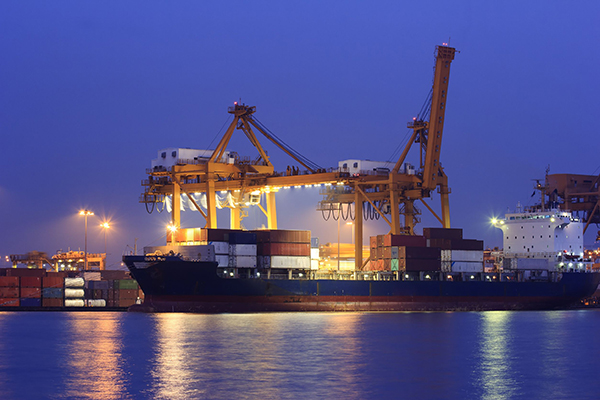 Container ship in loading bay