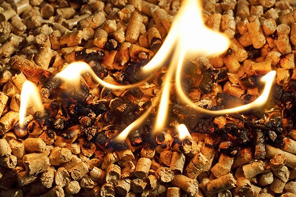 Wood pellets on fire