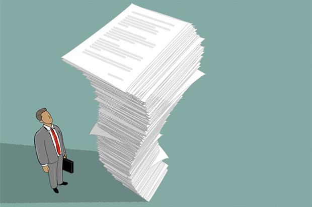 Illustration of man looking up at a tall pile of paper