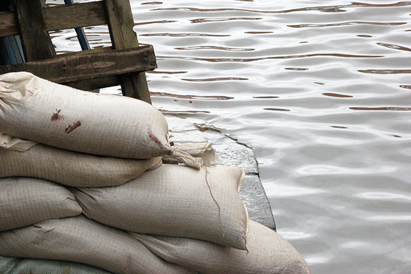 Sand bags used as flood protection