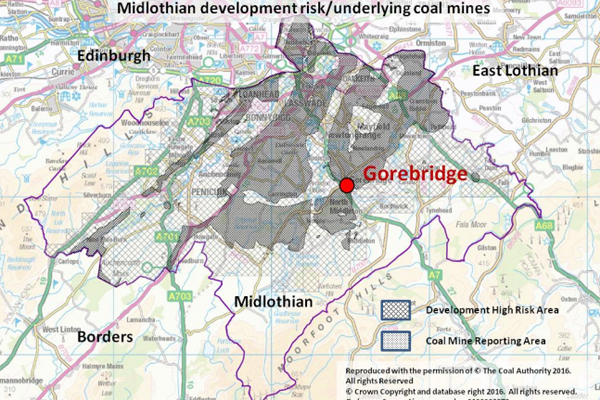 Map of Gorebridge's legacy mining areas