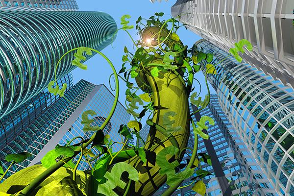 Illustration of money vines creeping up skyscrapers