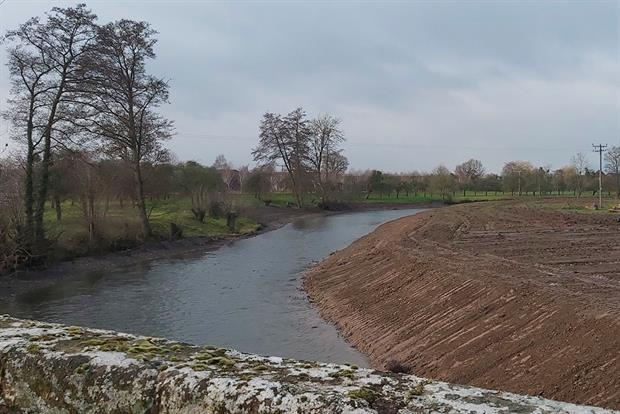 Local wildlife groups fear the EU-protected River Lugg near Mortimer's Cross was bulldozed illegally. Photograph: Environment Agency