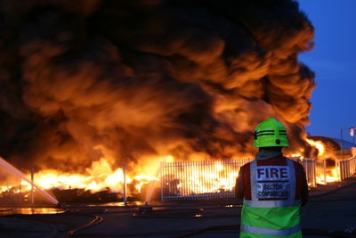 Tyre stack ablaze: there has been a spate of tyre recycling sites (credit: South Yorkshire Fire & Rescue)