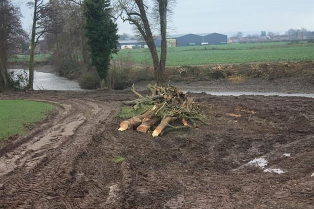 The river Lugg was bulldozed by the landowner. Photograph: Environment Agency