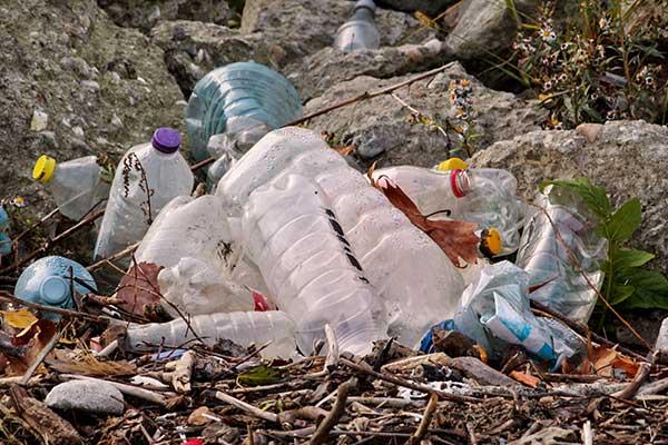 Plastic litter on ground