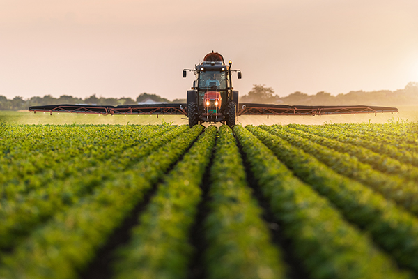 Tractor spraying a field