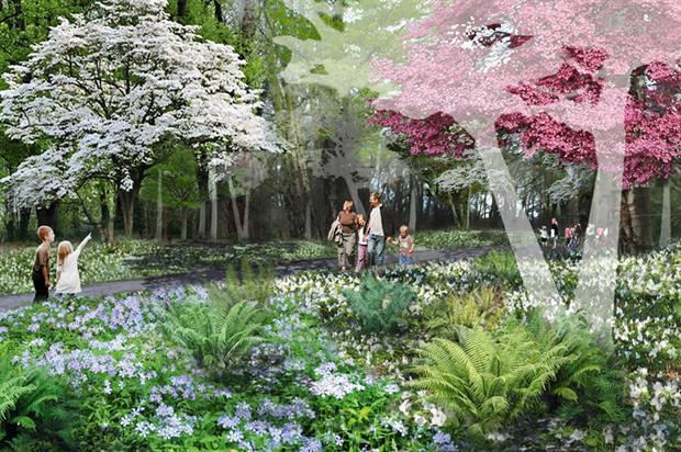 Woodland meadow: contrasted beside lakeside walk and gardens - image: Nigel Dunnett/Joanna Yan