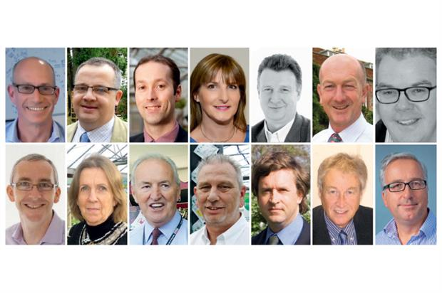 Summit speakers (left to right) — top row: Ian Charles, Tim Clapp, David Denny, Jackie Eades, Charles Farmer, Andy McIndoe, Alex Newey; bottom row: Andy Newman, Caroline Owen, Barry Page,  Ian Riggs, Alan Roper, Malcolm Scott and Neville St