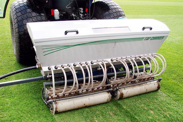 VGR Topchanger: multi-action machine from Campey Turf Care Systems combines aeration and sanding