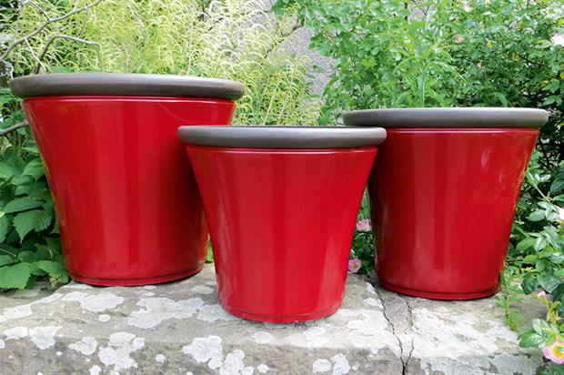Davenport Planters: three sizes are available in amber, apple green and postbox red - image: Anglo Eastern Trading Co