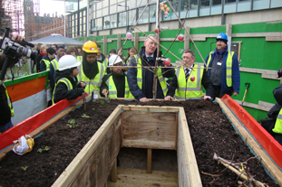 Hilary Benn at King's Cross allotment. Image: HW