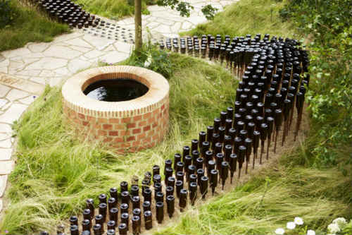 Bottle river in Badger Ales' sponsored Hampton Court garden - image: HW