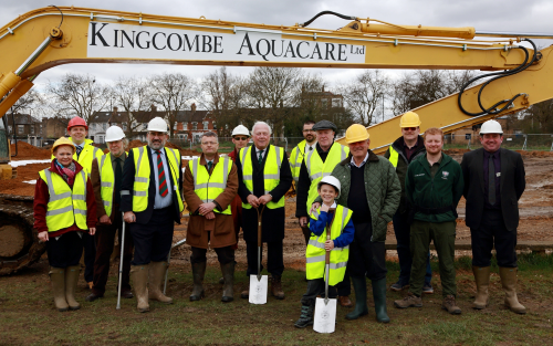 Dennis Stone and Cullen (front) with Chairman Haines (to left) and Kingcombe Aquacare contractors